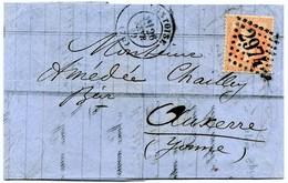 M3  NAPOLEON III EMPIRE FRANCAIS ORANGE 40 C LOSANGE GC 2974 SUR LETTRE PONTOISE - 1853-1860 Napoleon III
