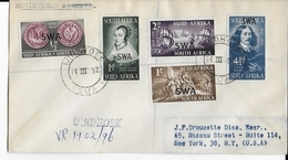 SWA - 1952 - SERIE COMPLETE YVERT N° 227/231 Sur ENVELOPPE RECOMMANDEE De WINDHOEK => NEW-YORK (USA) - - Südwestafrika (1923-1990)