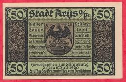 Allemagne 1 Notgeld De 50 Pfenning  Stadt Arys Dans L 'état  N °3877 - [ 3] 1918-1933 : République De Weimar