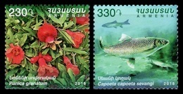 Armenia 2018 Mih. 1093/94 Flora And Fauna. Plants And Fishes. Pomegranate And Capoeta Sevangi MNH ** - Armenien