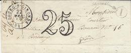 1853- Lettre De Bourg-s-Gironde ( Gironde ) Cad T15 + Taxe Dt 25 + I  Boite Rurale De Samonac - Marcophilie (Lettres)