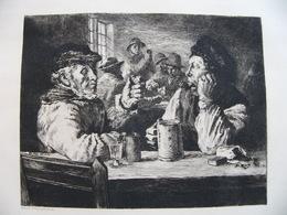Gravure Eau-forte Originale De Et Par Will.PETERS Pêcheurs Norwégiens Au Cabaret - Estampes & Gravures