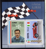 UNITED ARAB EMIRATES AJMAN 1969 MANAMA ALFA ROMEO CARS RACING JEAN PIERRE WIMILLE BLOCK SHEET BLOCCO FOGLIETTO MNH - Ajman