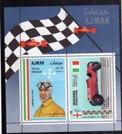UNITED ARAB EMIRATES AJMAN 1969 MANAMA ALFA ROMEO TAZIO NUVOLARI CARS RACING BLOCK SHEET BLOCCO FOGLIETTO MNH - Ajman