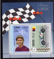 UNITED ARAB EMIRATES AJMAN 1969 MANAMA MERCEDES BENZ MANUEL FANGIO CARS RACING BLOCK SHEET BLOCCO FOGLIETTO MNH - Ajman