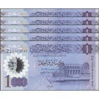 TWN - LIBYA NEW - 1 Dinar 2019 DEALERS LOT X 5 - Polymer - Series 2 - Various Prefixes UNC - Libia