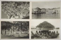 4 CPA Photo N.b TAUTIRA TAHITI Concours De Pirogues Fleuries Et Danseuses De Tahiti Vers 1930 - Frans-Polynesië