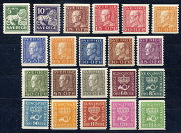 SWEDEN 1934-36 Definitives On White Paper Complete Set. MNH / **.   Michel 175 II WA - 207 II WA - Nuevos