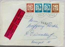 Bund Michel Nr. 351 Y (2x), 352, 356 Exprès Brief, Durch Eilboten, Furtwangen - Düsseldorf 1963, 2 Scans, YT 224 225 229 - [7] Federal Republic