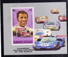 UNITED ARAB EMIRATES AJMAN 1972 MANAMA MARIO ANDRETTI USA CARS RACING AIR MAIL BLOCK SHEET BLOCCO FOGLIETTO MNH - Ajman