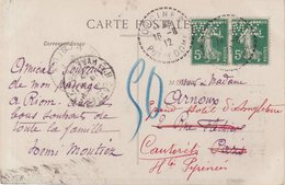 FRANCE : 5 Cts VERT . PAIRE . TYPE SEMEUSE . PERFORE MZ . DU PUY DE DOME . 1912 . - Postmark Collection (Covers)