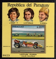 PARAGUAY 1972 LOTUS FORD COLIN CHAPMAN FORMULA 1 RINDT FITTIPALDI WISELL BLOCK SHEET BLOCCO FOGLIETTO MNH - Paraguay