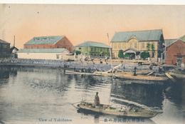 JAPAN - View Of Yokohama. River, Boats, Shore Scene, Warehouses - Hand Colored - Yokohama