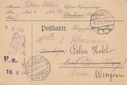 WW1 CORRESPONDENCE, POSTCARD SENT FROM STRALSUND TO MONT PELERIN, CENSORED, 1917, GERMANY - Allemagne