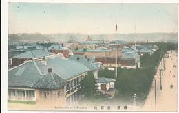 JAPAN - Settlement Of Yokohama, Rooftop Scene, Roadway, Flags - Hand Colored - Yokohama