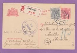 ENTIER POSTAL RECOMMANDÉE AVEC AFFRANCHISSEMENT SUPPLÉMENTAIRE POUR IXELLES,CACHET DE CENSURE D'EMMERICH,1917. - Ganzsachen