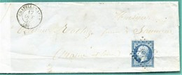 M10 : TAD CONVOYEUR AMBULANT BORDEAUX A PARIS +OCT 1857 + TAD SAUMUR + TAD LOSANGE CHATELLERAULT SUR NAPOLEON - Marcofilia (sobres)