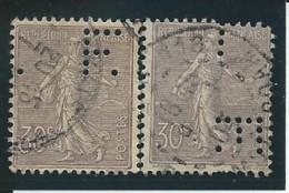 FRANCE: Obl., N° 133 X 2, Lilas, Perforés, B/TB - 1903-60 Semeuse Lignée