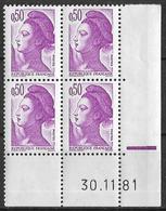 France -1981 - Coin Daté 30/11/81 - Type Liberté De Gandon 50 C. Violet -Y&T N°2184 ** Neuf Luxe 1er Choix - 1980-1989