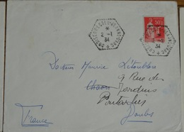 Bateau Croiseur  école Jeanne D'arc    2 Janvier  1934 Paix 50c Lettre 283  Obliteration - 1932-39 Peace