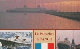 Le Paquebot FRANCE: (4 Vues) Dans Le Soleil Couchant, Sur Timbre De 0.30 Francs, à Quai, Drapeau Français - Paquebots
