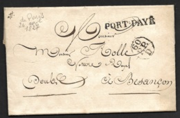 Lettre De Paris Pour Besançon Doubs-Port Payé - Postmark Collection (Covers)