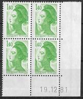 France -1981 - Coin Daté 19/12/81 - Type Liberté De Gandon 1 F.40 Vert -Y&T N°2186 ** Neuf Luxe 1er Choix - 1980-1989