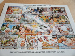 Sheetlet Libya 1986 American Aggression Against The Jamahiriya - Libya