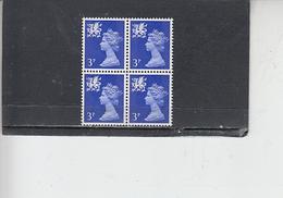 GRAN BRETAGNA  1971 - Unificato 630 (quartina) - Man - Regionali