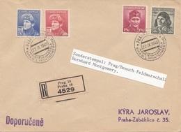 RRR! CSSR 1945 - 20 + 50 H U. 1,50 + 2 Kr Auf RECO-Brief M.Sonderstempel PRAG Besuch Feldmarschall Bernhard Montgomery - Briefe U. Dokumente
