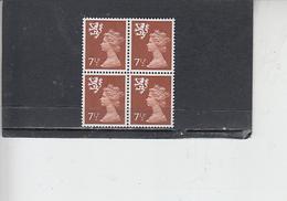 GRAN BRETAGNA  1971 - Unificato 636 (quartina) - Scozia - Regionali