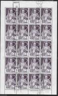 GIAPPONE - 1969 - ALTO VALORE SERIE ORDINARIA - 500Y-STATUA-  FOGLIO USATO DI 20 FRANCOBOLLI (YVERT 847A - MICHEL 1028) - 1926-89 Emperor Hirohito (Showa Era)