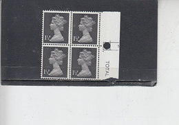 GRAN BRETAGNA  1971 - Unificato 607 (quartina) -  Elisabetta - Nuovi