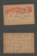 NICARAGUA. 1895 (10 Enero) Leon - Corinto. 2c Red Local Stat Card. Fine Used + Scarce. - Nicaragua