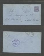NICARAGUA. 1888 (24 Aug) Leon - USA, NYC. Via Corinto (25 Aug) Early 10c Lilac On Blue Stationary Envelope. Fine And Sca - Nicaragua