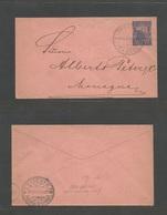 NICARAGUA. 1893 (Ago 16) Granada - Managua (16 Ago 1894) Local 5c Blue / On Salmon Paper Stationery Envelope 1893 Issue. - Nicaragua