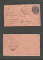 NICARAGUA. 1892 (31 Ene) Masaya - Managua (31 Ene) 5c Blue Colon 1892 Issue, Stationary Envelope On Salmon Paper. Fine. - Nicaragua