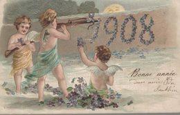 Millésime 1908 - Angelots - Carte Gaufrée - Embossed - 2 Scans - Anges