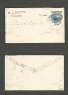 "NICARAGUA. 1902 (30 Dic) Corinto - Leon. Local 5c Blue Stationary Envelope, Ovptd Ds + ""BUZON"" STLINE Nice Item. - Nicaragua"