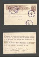 NICARAGUA. 1914 (2 May) Rivas - Granada (14 May) 1 Centavo De Cordoba On 4c. Brown Interior Ovptd Stationary Card. Fine - Nicaragua
