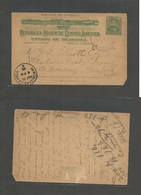 NICARAGUA. 1898 (3 Oct) Bluefields - USA, NYC (Oct 11) 2 Cent Green Stationary Card, Very Scarce Origin On Overseas Usag - Nicaragua