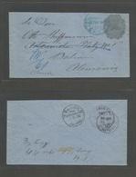 NICARAGUA. 1892 (22 Sept) Leon - Germany, Berlin (1 Nov) 10c Dark Grey On Blue Paper Colon 1892 Issue Stationary Envelop - Nicaragua