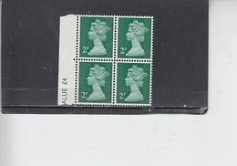 GRAN BRETAGNA  1971 - Unificato 608 (quartina) -  Elisabetta - Nuovi