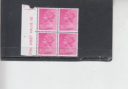 GRAN BRETAGNA  1971 - Unificato 609 (quartina) -  Elisabetta - Nuovi