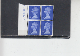 GRAN BRETAGNA  1971 - Unificato 610 (quartina) -  Elisabetta - Nuovi