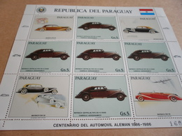 Sheetlet Paraguay 1986 Mayback And Zeppelin Motor Cars - Paraguay