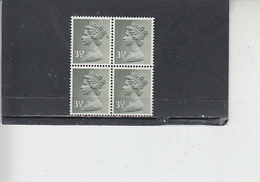 GRAN BRETAGNA  1971 - Unificato 611 (quartina) -  Elisabetta - Nuovi