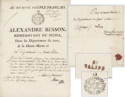Alexandre Besson Représentant Du Peuple Du Jura, De La Haute-Marne Cachet 38 Salins En Rouge An 3 ''Mode Répartition Sel - Marcophilie (Lettres)