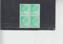 GRAN BRETAGNA  1971 - Unificato 614 (quartina) -  Elisabetta - Nuovi