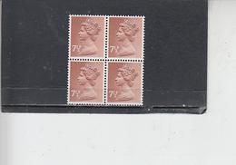 GRAN BRETAGNA  1971 - Unificato 615 (quartina) -  Elisabetta - Nuovi